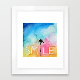 Palm tree Smile IN watercolor Framed Art Print
