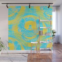 Abstract Aqua and Yellow Wall Mural