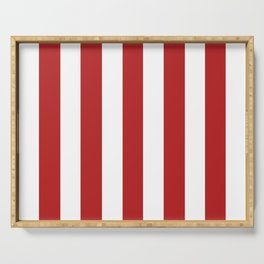 Red cola - solid color - white vertical lines pattern Serving Tray