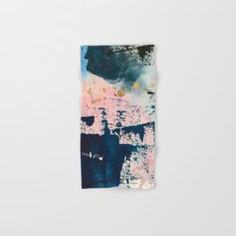 Candyland: a vibrant, colorful abstract piece in blue teal pink and gold by Alyssa Hamilton Art Hand & Bath Towel