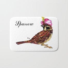 Funny sparrow in turban Bath Mat