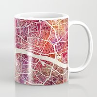 london map Mugs featuring London map by MapMapMaps.Watercolors