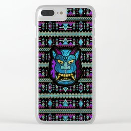 Aboriginal Aztec Inca Mayan Mask Mozaic Glass Clear iPhone Case