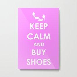 Keep Calm Keep Shopping 2 Metal Print