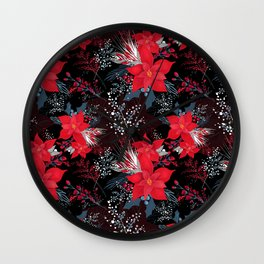 Christmas Poinsettia Flowers Wall Clock