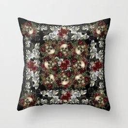 Skulls and Roses Bandana on Black Throw Pillow
