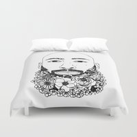 caleb troy Duvet Covers featuring PHOENIX AND THE FLOWER GIRL PHOENIX TROY PLAIN PRINT by Lauryn花Cheney