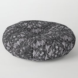 Bats And Beasts - Black and Gray  Floor Pillow