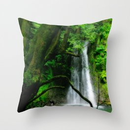 Waterfall in Azores islands Throw Pillow