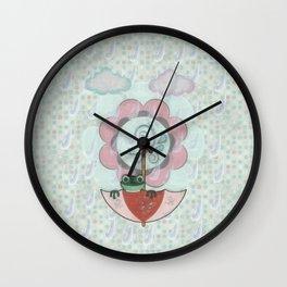 Rainy Day Frog Children's Art Wall Clock