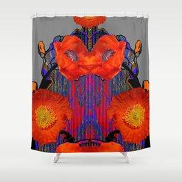 Modern Art Nouveau Fiery Orange Poppy Flowers Purple Art Shower Curtain
