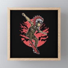 Indian Chief Skateboard Framed Mini Art Print