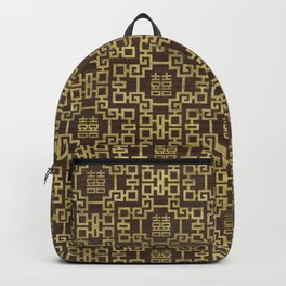 Chinese Pattern Double Happiness Symbol Gold on Wood Backpack