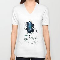 sharks V-neck T-shirts featuring Sharks by Naomi Bardoff