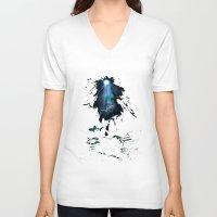 sharks V-neck T-shirts featuring Sharks by Naomi Bardoff