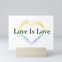 Splatter Paint Triple Hearts Love is Love Pride Rainbow Minimalist Art Mini Art Print