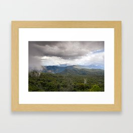 CLOUDS ABOVE THE FOREST Framed Art Print