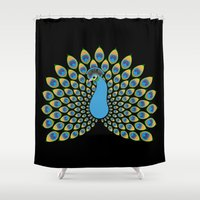 peacock Shower Curtains featuring Peacock by tuditees