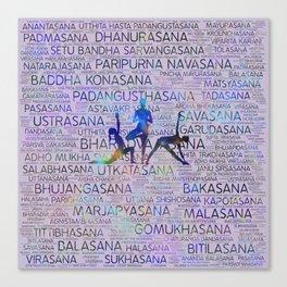Yoga Asanas/Poses Sanskrit Word Art Canvas Print