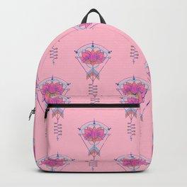 Sacred Lotus Symbol:  Pink & Turquoise geometric Backpack