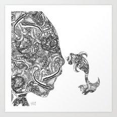 Homme Poisson B&W Art Print