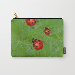 RED LADY BUGS ON GREEN LEAVES DESIGN ART Carry-All Pouch