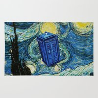dumbledore Area & Throw Rugs featuring Tardis Dr. Who Starry Night by neutrone