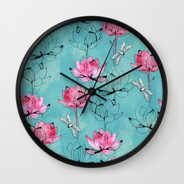 Waterlily dragonfly Wall Clock