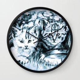 Blue Baby Cats Wall Clock