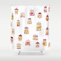 cookie Shower Curtains featuring Cookie Jar by Shakkedbaram