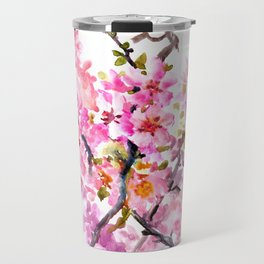 Cherry Blossom pink floral texture spring colors Travel Mug