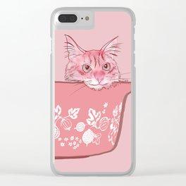 Cat in Bowl #1 Clear iPhone Case