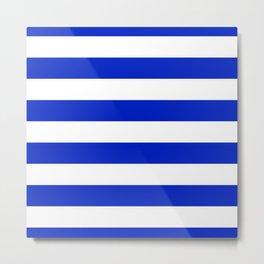 Cobalt Blue and White Wide Cabana Tent Stripe Metal Print