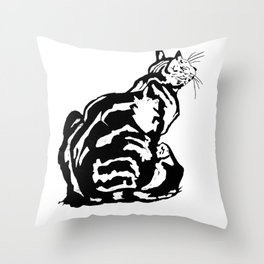 Black And White Seated Tabby Cat Throw Pillow