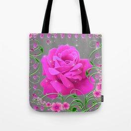 ROMANTIC CERISE PINK ROSE GREY ART RIBBONS Tote Bag