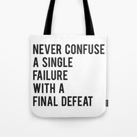 fitzgerald Tote Bags featuring F Scott Fitzgerald - Never Confuse A Single Failure With A Final Defeat Print by StricklenPress