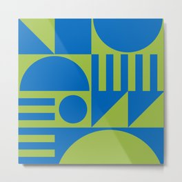 Mid Century Modern Geometric Abstract 935 Blue and Green Metal Print