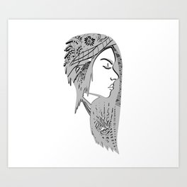 Zentangle portrat 1 Art Print