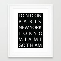 gotham Framed Art Prints featuring Gotham by creativecam