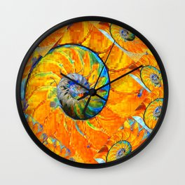 ORANGE & BLUE NAUTILUS ABSTRACT ART Wall Clock