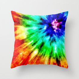 Tie Dye Meets Watercolor Throw Pillow