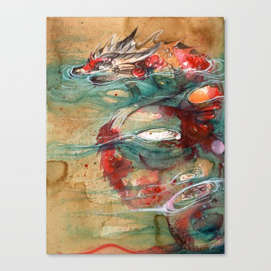 Dragon koi canvas print by rubis firenos society6 for Koi prints canvas