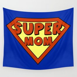 Funny super mom badge Wall Tapestry