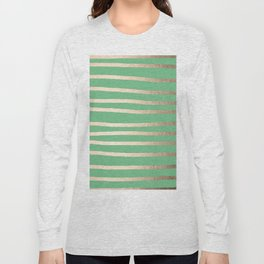Abstract Drawn Stripes Gold Tropical Green Long Sleeve T-shirt