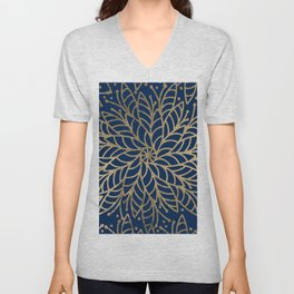 Modern chic navy blue faux gold floral mandala Unisex V-Neck