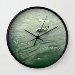 Wisdom found - white swan in Lyon, France Wall Clock
