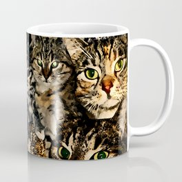 cat collage our beloved kitten cats watercolor splatters Coffee Mug