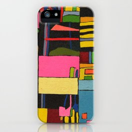 Colors in Collision 2 - Geometric Abstract in Blue Yellow Pink and Green iPhone Case
