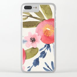 Colorful Watercolor Pink Peony Pattern Olive Green Blue Leaves Clear iPhone Case