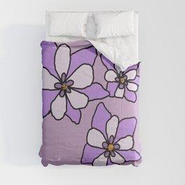 Purple Columbines Illustration Comforters